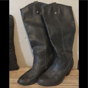 Dark Gray Cowboy Style Boots w/ Zipper - Size 10